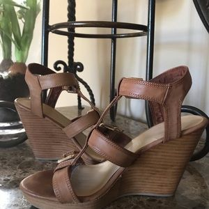 H&M Leather Wood Wedge Heel Size 8